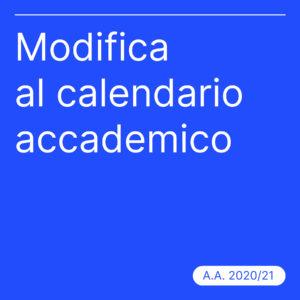 Modifica al calendario accademico